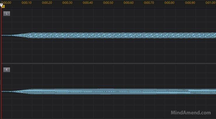 10Hz binaural beat waveform